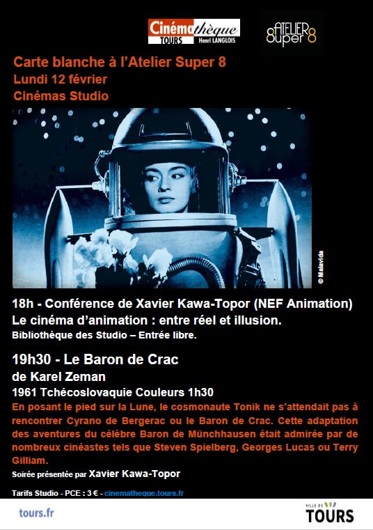 affiche de la soirée cinematheque organisee par l'atelier super 8 de tours